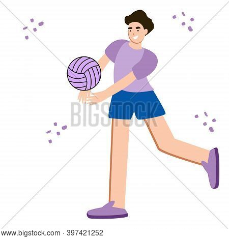 Volleyball Player Hits The Ball In A Sports. Male Cartoon Character Play Volleyball. Team Sport. Fla