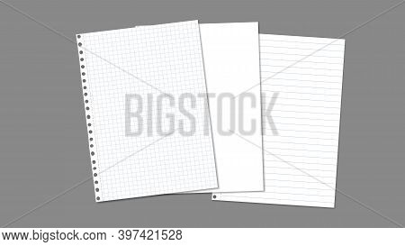 Stack Of White Blank, Lined, Math Note, Notebook Paper Are On Dark Grey Background For Text, Adverti
