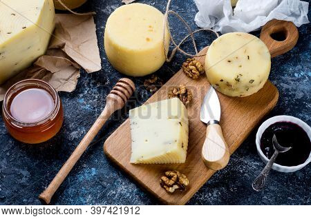 Homemade Cheesy With Honey, Fruits, Cookies And Nuts On Table.  Fresh Dairy Product, Healthy Organic