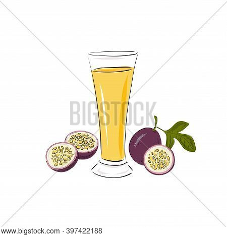Glass With Passion Fruit Juice, A Whole And Slices. Smoothies On A White Background. Beverages. Deto