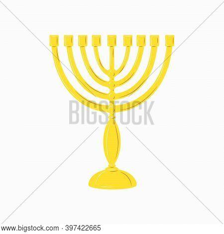 Hanukkah Menorah Golden Yellow Candlestick With 9 Candles. Chanukah Jewish Holiday Festival Of Light
