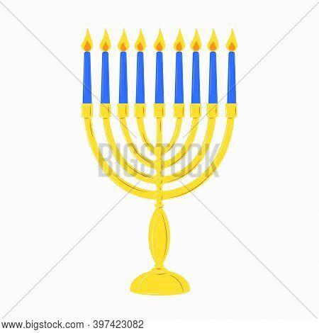 Hanukkah Menorah Golden Yellow Candlestick With 9 Blue Burning Candles. Chanukah Jewish Holiday Fest