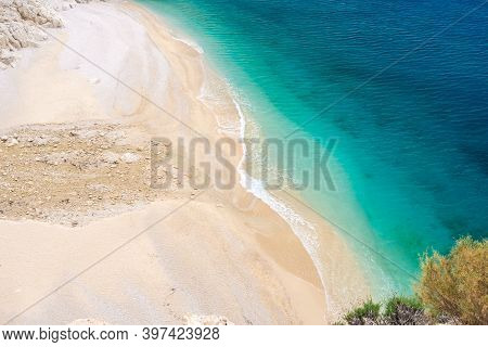 Kaputas Beach, Lycia Coast And Mediterranean Sea In Kas, Kalkan, Antalya,turkey. Lycian Way. Summer