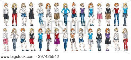 Women In Casual Wear Vector Illustrations Isolated On White Background Big Set, Attractive Adult Gir