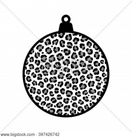 Christmas Ball With Leopard Print. Vector. Decoration For A Tree. Festive New Year Bauble. Snow Whit