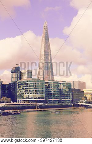 London, Uk - April 23, 2016: Shard Skyscraper In London Skyline, Uk. The 309m Tall Building Is The T