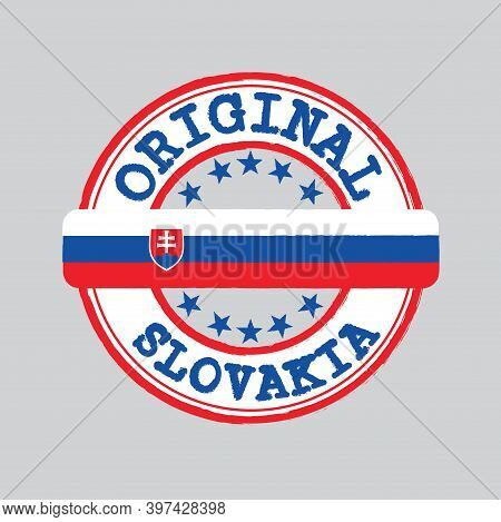 Vector Stamp Of Original Logo With Text Slovakia And Tying In The Middle With Nation Flag. Grunge Ru