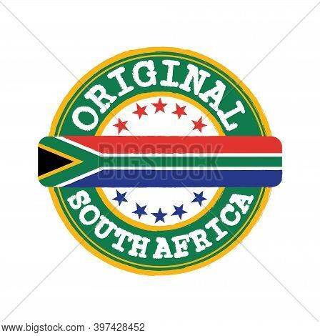 Vector Stamp Of Original Logo With Text South Africa And Tying In The Middle With Nation Flag. Grung
