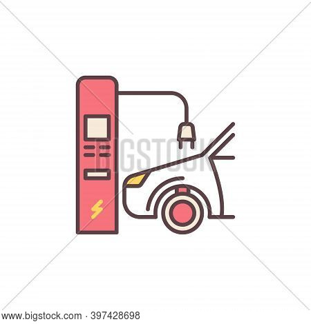 Car At Electric Recharging Point Vector Colored Concept Icon Or Symbol