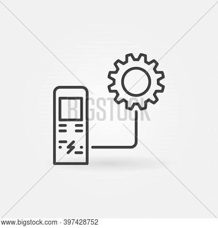 Electric Recharging Point With Gear Vector Thin Line Concept Icon Or Design Element