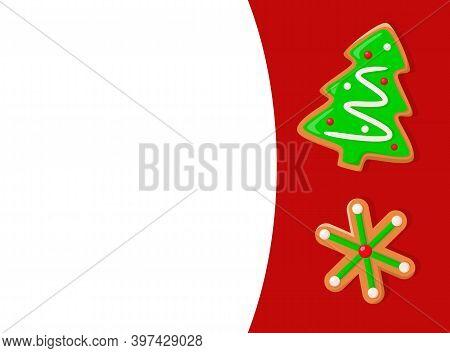 Christmas Holiday, Gingerbread Green Xmas Tree And Snowflake Cookie. New Year, Sugar And Glaze, Doug