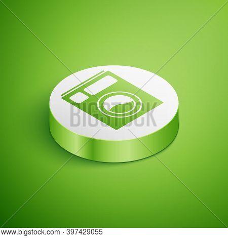 Isometric Washer Icon Isolated On Green Background. Washing Machine Icon. Clothes Washer - Laundry M