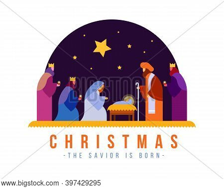 Christmas , The Savior Is Born Banner With Nativity Of Jesus Scene And Three Wise Men In Night Time