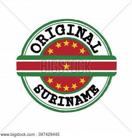 Vector Stamp Of Original Logo With Text Suriname And Tying In The Middle With Nation Flag. Grunge Ru