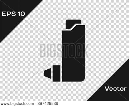 Black Inhaler Icon Isolated On Transparent Background. Breather For Cough Relief, Inhalation, Allerg
