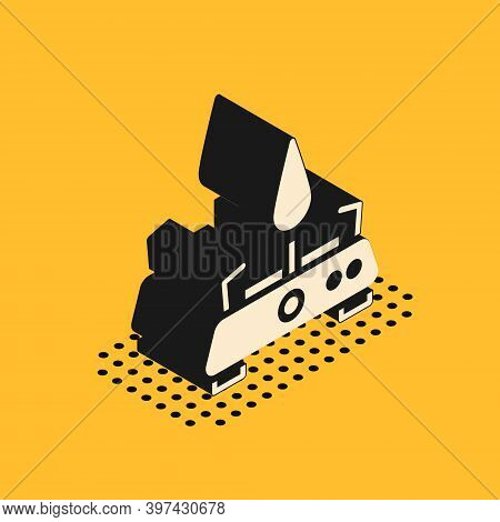 Isometric Camping Gas Stove Icon Isolated On Yellow Background. Portable Gas Burner. Hiking, Camping