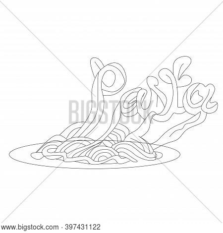National Spaghetti Day In The United States. Spaghetti Day. Yellow Spaghetti With Meat Slices On A W