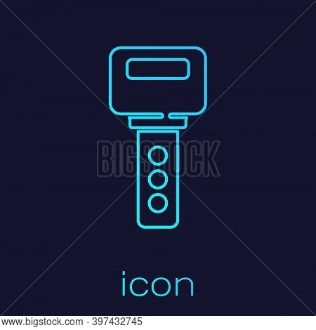 Turquoise Line House Key Icon Isolated On Blue Background. Vector