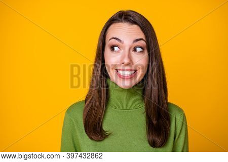 Close-up Portrait Of Lovely Curious Funny Cheery Glad Girl Looking Aside Good Idea Copy Space Isolat