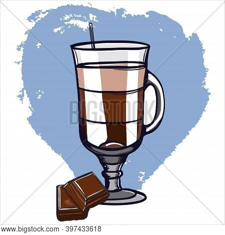 Drink Hot Chocolate In A Glass Glass On A Leg, Cocoa, A Slice Of Chocolate Bar. Cartoon Illustration