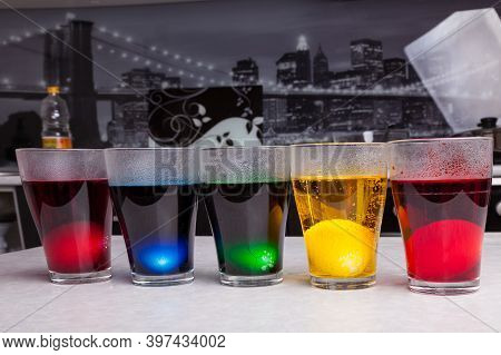 Concentrated Food Coloring Of Different Colors, Diluted With Boiling Water - Blue, Yellow, Green, Re