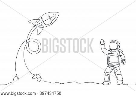 One Continuous Line Drawing Of Spaceman Astronaut Science At Moon Land Waving Hand To Take Off Rocke