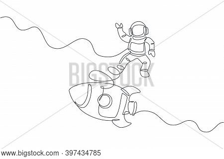 One Continuous Line Drawing Of Spaceman Astronaut Science Discovering Cosmos Galactic With Rocket. C