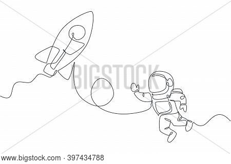 Single Continuous Line Drawing Of Astronaut In Spacesuit Flying At Outer Space With Rocket Spacecraf