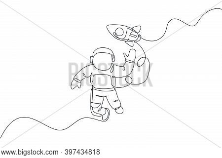 One Continuous Line Drawing Of Waving Hand Spaceman Astronaut Science Discovering Cosmos Galactic Wi