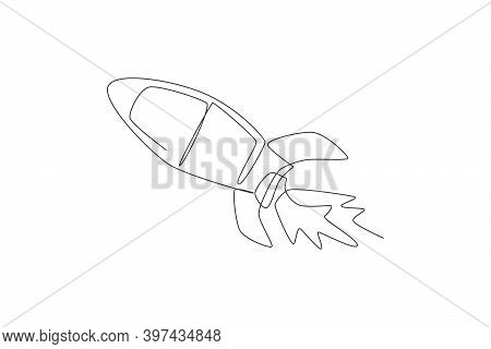 Single Continuous Line Drawing Rocket Launch Fly Into The Sky Universe. Vintage Spacecraft Rocketshi