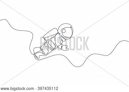 One Single Line Drawing Of Young Astronaut In Spacesuit Flying At Outer Space Vector Illustration. S