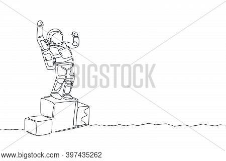 One Continuous Line Drawing Of Astronaut Standing On First Place Podium. Deep Space Galaxy. Spaceman