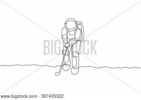 One Single Line Drawing Of Spaceman Astronaut Practicing Golf On Moon Surface, Cosmic Galaxy Vector