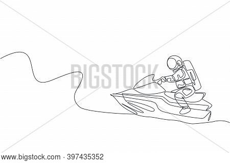 Single Continuous Line Drawing Of Astronaut Exercise Jetski On Moon Surface, Outer Deep Space. Space