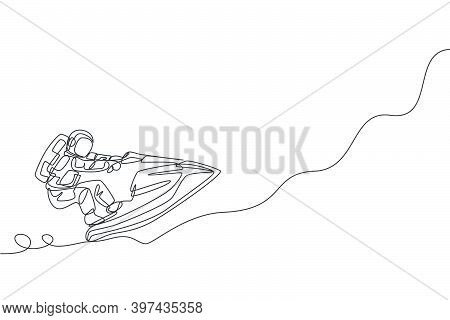 Single Continuous Line Drawing Of Astronaut Using Jetski On Moon Surface, Outer Deep Space. Space As