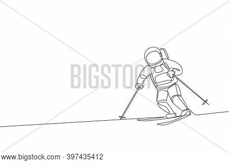 Single Continuous Line Drawing Of Astronaut Exercise Skiing On Moon Surface, Outer Deep Space. Space