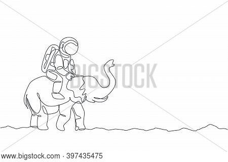 Single Continuous Line Drawing Of Cosmonaut With Spacesuit Riding Asian Elephant, Wild Animal In Moo