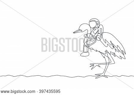 One Continuous Line Drawing Of Spaceman Take A Walk Riding A Heron Bird, Wild Animal In Moon Surface