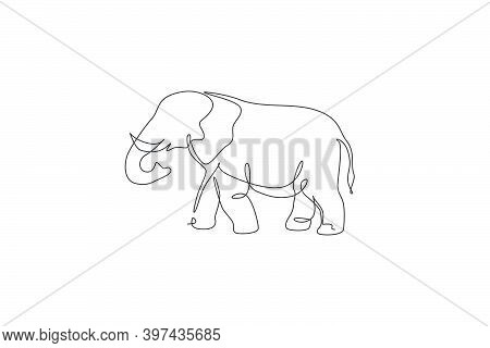 One Continuous Line Drawing Of Giant African Elephant. Wild Animal National Park Conservation. Safar