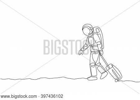 Single Continuous Line Drawing Young Astronaut Pulling Suitcase While Walking Out From Airport In Mo