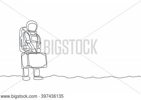 One Continuous Line Drawing Young Happy Astronaut Holding Big Suitcase Luggage Want To Travel In Moo