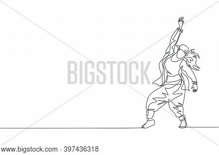 One Single Line Drawing Of Young Modern Street Dancer Woman With Hat Performing Hip Hop Dance On The