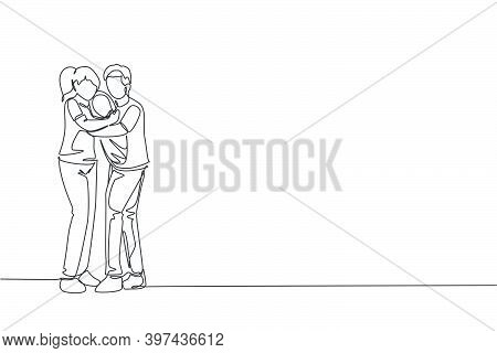 One Single Line Drawing Of Young Happy Mother And Father Hugging Their Baby Together Full Of Warmth