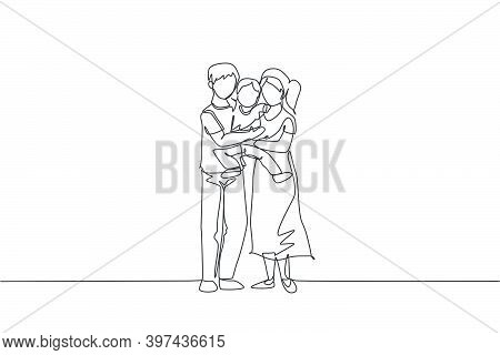 One Continuous Line Drawing Young Happy Mother And Father Carrying Their Son Together Full Of Warmth