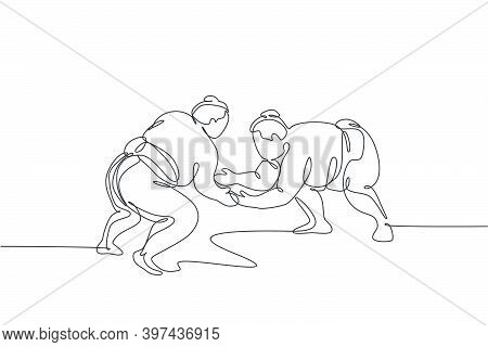 Single Continuous Line Drawing Two Young Big Fat Japanese Sumo Men Training Fight At Arena Gym Cente