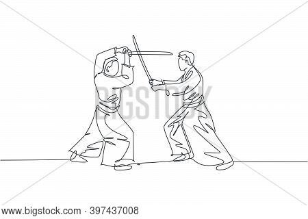 Single Continuous Line Drawing Of Two Sportive Men Wearing Kimono Practice Aikido Sparring Fight Tec