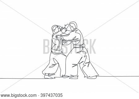 Single Continuous Line Drawing Of Two Young Sportive Man Wearing Kimono Practice Aikido Technique Wo