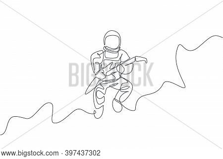 One Continuous Line Drawing Of Astronaut With Spacesuit Playing Electric Guitar In Galaxy Universe.
