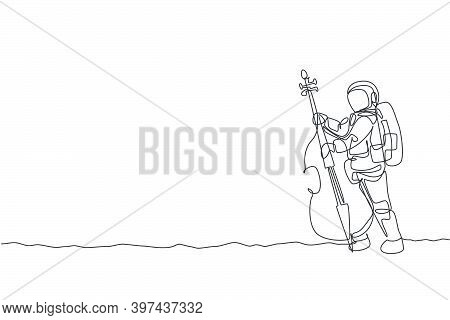 One Single Line Drawing Of Spaceman Cellist Playing Cello Musical Instrument On Moon Surface Vector