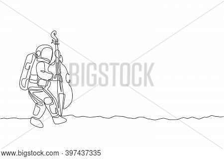 Single Continuous Line Drawing Of Astronaut Cellist Playing Cello Musical Instrument On Moon Surface